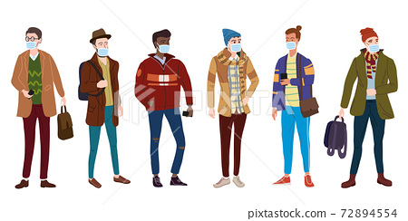 Crowd Young mans students in modern autumn trendy clothes. In medical mask, individual protection from viruses, smog, vapor. Fashion casual outerwear street style character. Flat cartoon style vector 72894554