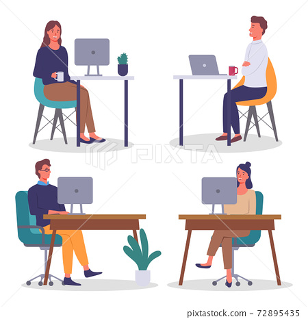 Office workers. Co-workers. Colleagues discuss project teamwork. Office staff work and communication 72895435