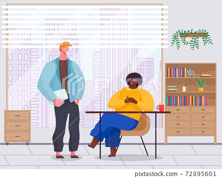Office workers. Co-workers. Colleagues discuss project teamwork. Office staff work and communication 72895601
