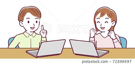 pc, heterosexual couple, desk work 72896697