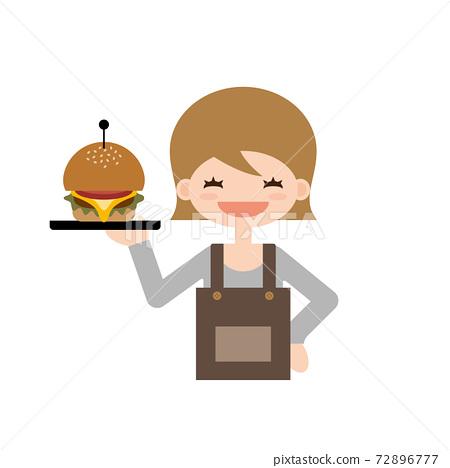 햄버거를 들고 여자 일러스트 72896777