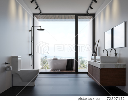Modern bathroom with sea view 3d render 72897132