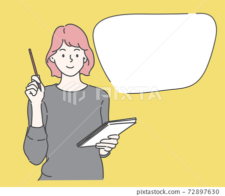 Young woman writing to do list of goals writing in diary. Businesswoman working on project strategy plan writing target tasks creative ideas. Hand drawn in thin line style, vector illustrations. 72897630
