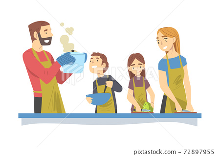 Happy Family Cooking in the Kitchen, Mom and Dad Spending Time with their Children and Cooking Together Cartoon Style Vector Illustration 72897955
