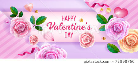 Love vector Valentines or Mothers day floral background, greeting card with pink roses, flowers 72898760