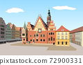 Gothic Town Hall of Worclaw, Poland - detailed vector illustration 72900331