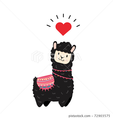 cute alpaca animal character vector 72903575