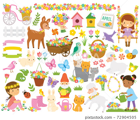 Clipart set for spring. Cute cartoon springtime items such as flowers, children, gardening tools and animals. 72904505