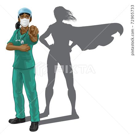 Nurse Doctor Woman Super Hero Shadow Pointing 72905733