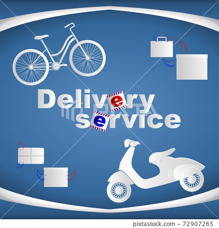 Banner with bike, scooter and boxes and text delivery service. Vector illustration. 72907265