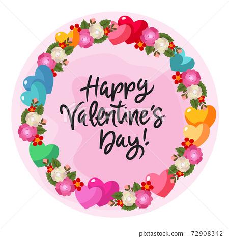 valentine heart and rose wreath flower decoration 72908342