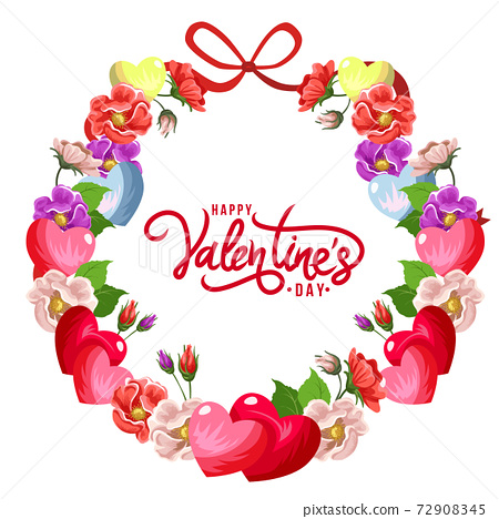 happy valentines day wreath flower decoration 72908345