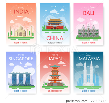 Asia travel. Exotic tour beautiful landmarks, historical city buildings. Tourist excursion postcards, discover southeast journey countries, east architecture posters. Vector card set 72908772