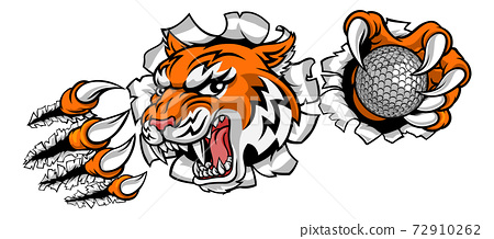 Tiger Golf Ball Player Animal Sports Mascot 72910262