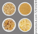 Processed ginger root in white bowls, over gray. Dried and ground, candied ginger cubes and pickled slices. Zingiber officinale. Used as spice, tea, snack and for sushi. Food photo closeup from above. 72910284