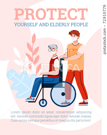 Banner to protect yourself and elderly people in pandemic, vector illustration. 72910776