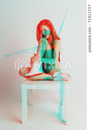 Multiple portrait with glitch duotone effect 72911557
