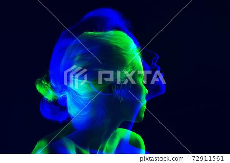 Multiple portrait with glitch duotone effect 72911561