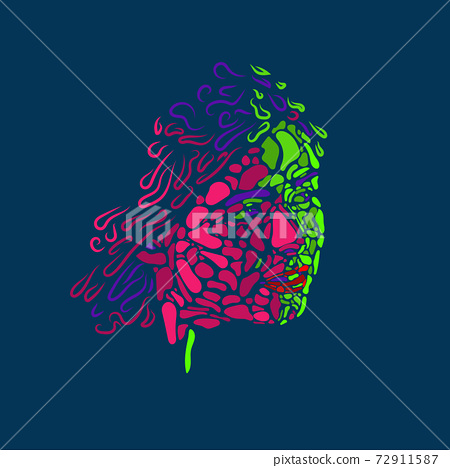 Face of beautiful woman painted by vibrant colors on dark blue studio background 72911587