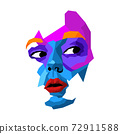 Face of beautiful woman painted by vibrant colors on white studio background 72911588