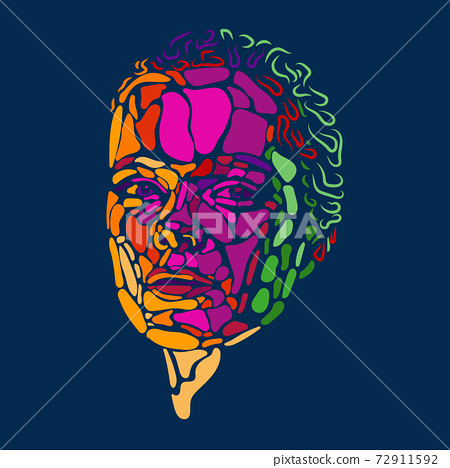 Face of beautiful woman painted by vibrant colors on dark blue studio background 72911592