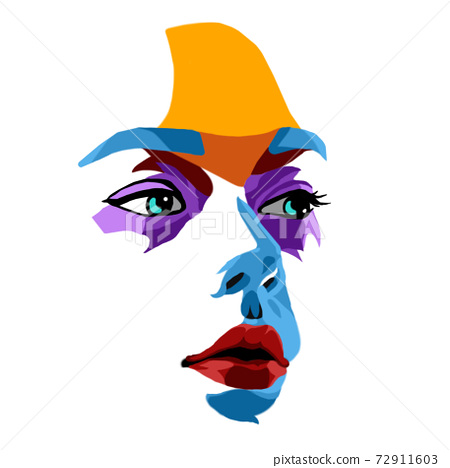 Face of beautiful woman painted by vibrant colors on white studio background 72911603