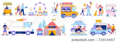 Funfair Amusement Icon Set 72914467