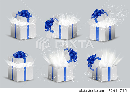 Collection White box in a blue ribbon and bow on top. Opened Holiday box with glowing glitter sparkles and bright rays of light inside. Celebration decoration objects. Vector illustration. 72914716