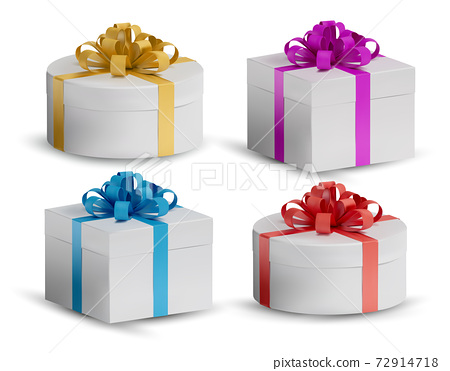Collection Gift white box in a red, gold, blue bow on top. Realistic, closed Holiday box on white background. Celebration decoration objects. Vector illustration 72914718
