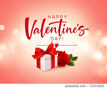 Realistic white gift box with red bow ribbon and red rose on pink bokeh background. Design element for Happy Valentines Day. Vector illustration 72914863