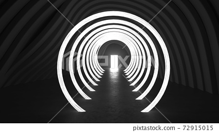 abstract light at the end of the tunnel  concept, 3d render illustration 72915015