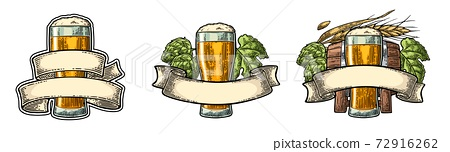 Glass beer with ribbon, barrel, and hop branch. 72916262