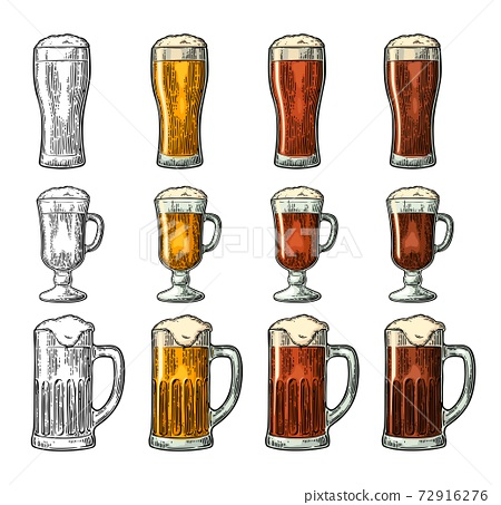 Glass with three types beer. Vintage black and color engraving 72916276