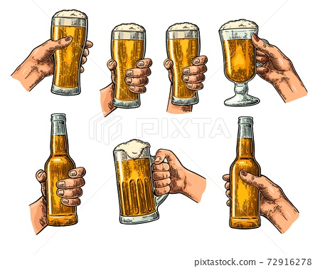 Man and woman hands holding, clinking with beer glass, bottle 72916278