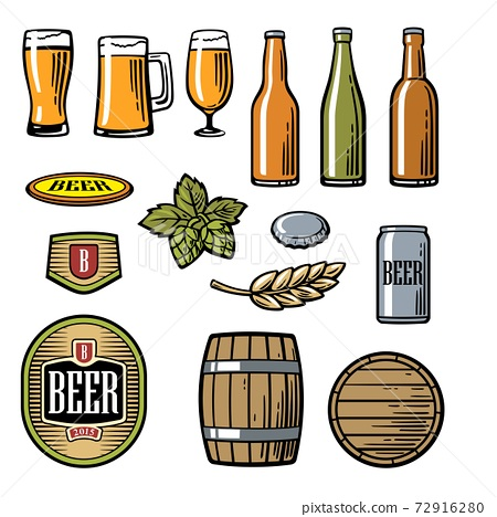 Beer vector flat icons set bottle, glass, barrel, pint 72916280