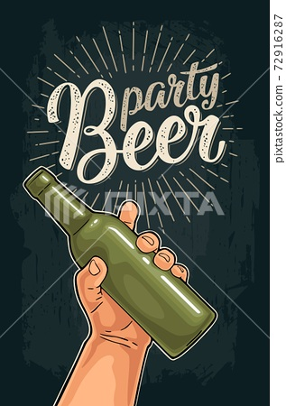 Man hand holding open green bottle. Beer party calligraphic lettering. 72916287