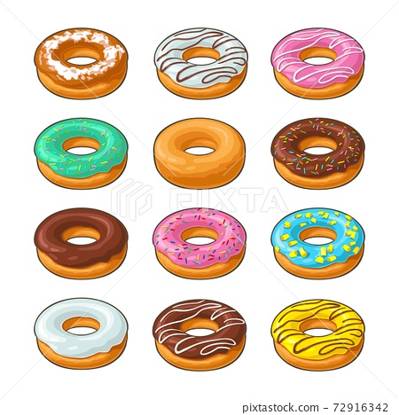 Set donut with different icing, glaze, stripes, sprinkles. 72916342