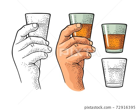 Male hand holding glass rum. Vintage color vector engraving 72916395