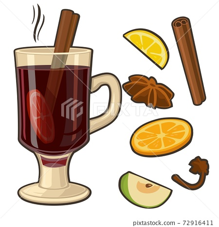 Mulled wine with glass of drink and ingredients. Vector flat illustration for greeting card, invitation, banner and poster. 72916411