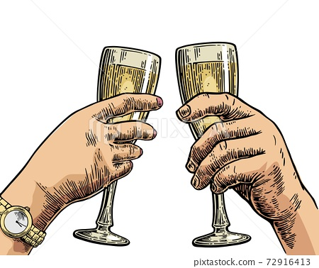 Female and male hands holding and clinking with two glasses champagne. 72916413