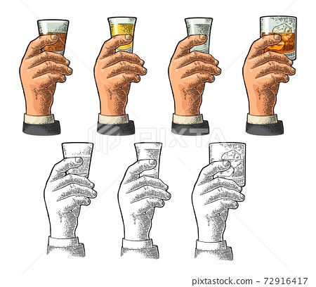 Male hand holding glass tequila, vodka, rum, whiskey. Engraving 72916417