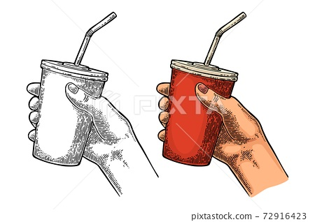 Female hand holding paper red cup cola with straws, cap. 72916423