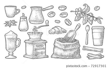 Set coffee. Sugar, beans, spoon, glass latte. Vintage vector engraving 72917301