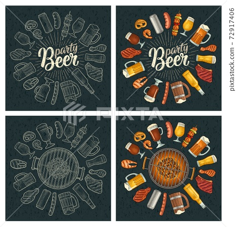 Beer party calligraphic handwriting lettering. Beer and grill engraving 72917406