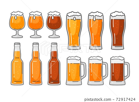Glass with different types beer - lager, ale, stout. Vintage vector flat illustration 72917424