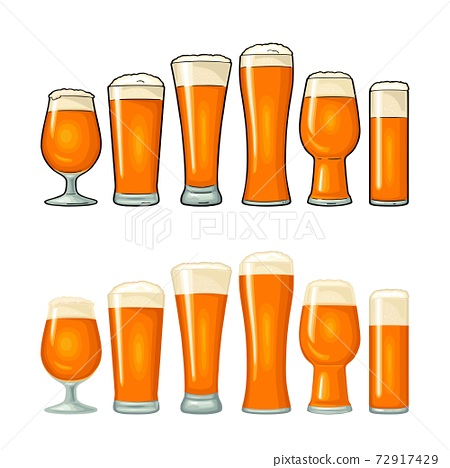 Different types beer glasses. Vector color flat icon 72917429