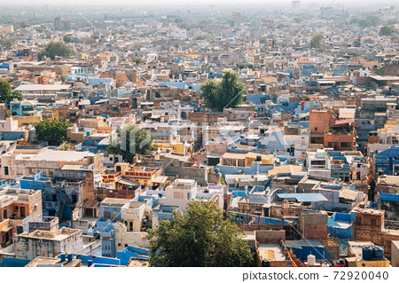 Panoramic view of blue city Jodhpur in India 72920040