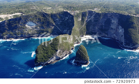 Ocean on a Bali are photographed from a drone 72920973