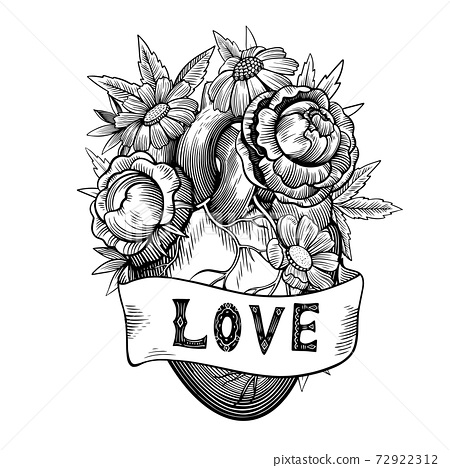 Vintage illustration of heart with flowers and ribbon in tattoo engraving style. Black and white vector drawing. 72922312
