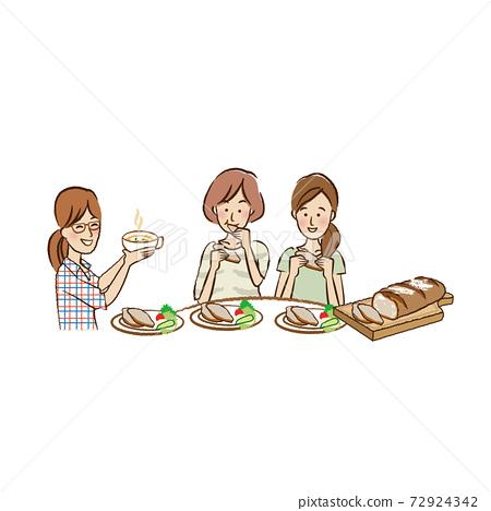 빵을 먹는 젊은 여성들 72924342